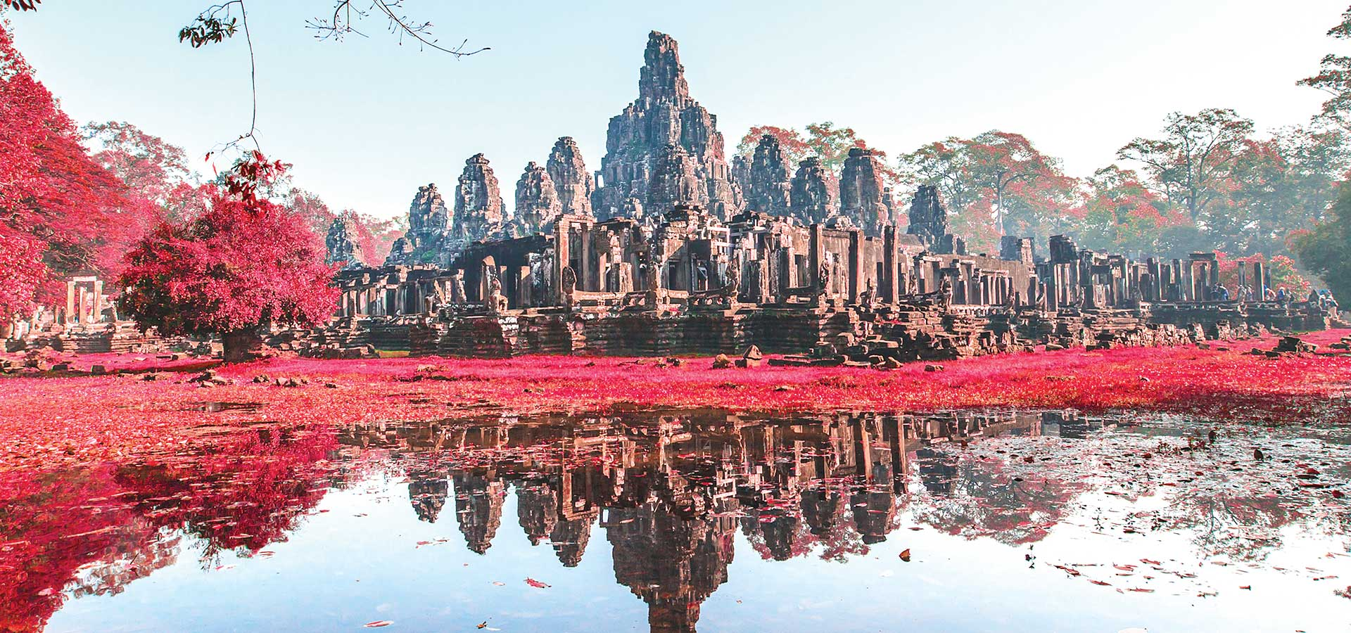 Explore the Bayon is a richly decorated Khmer temple at Angkor in Cambodia